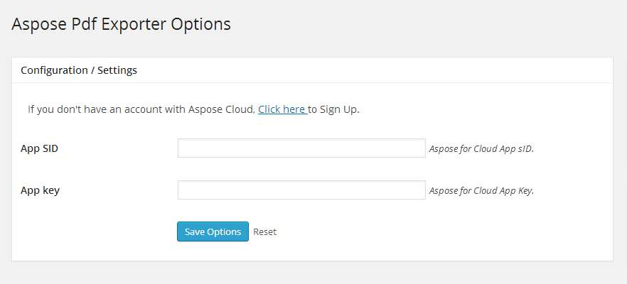 Aspose PDF Exporter Plugin WordPress