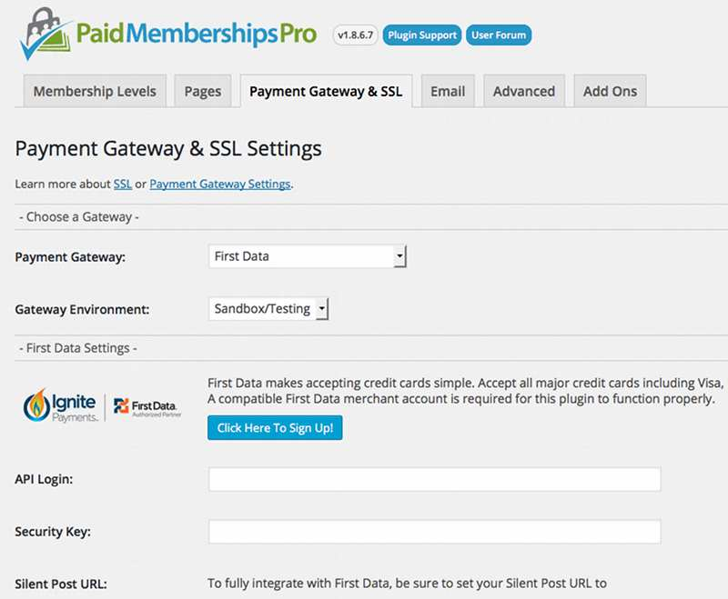 First Data for Paid Memberships Pro Plugin WordPress