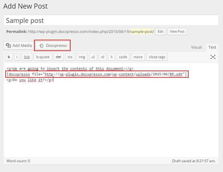 Docxpresso Plugin WordPress