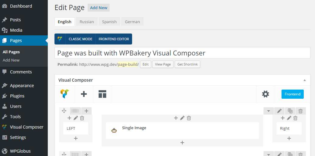 WPGlobus for WPBakery Visual Composer Plugin WordPress