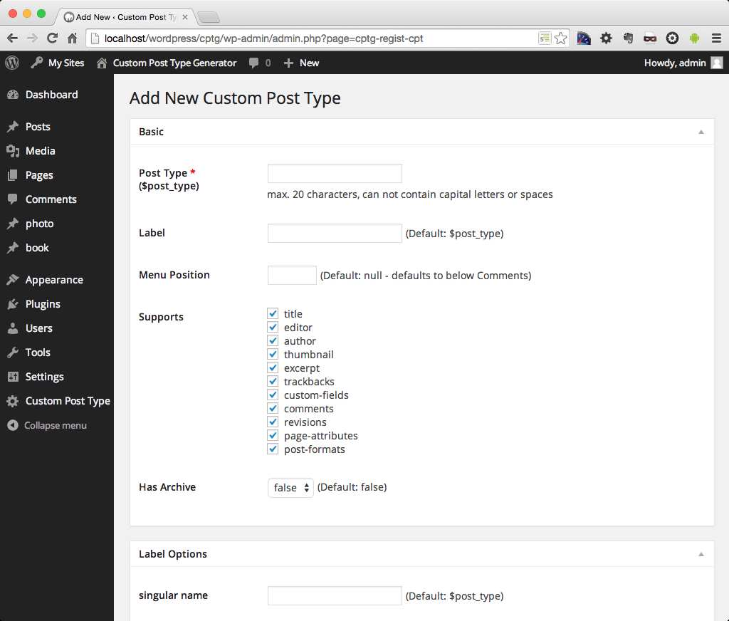 Custom Post Type Generator Plugin WordPress, Download, Install