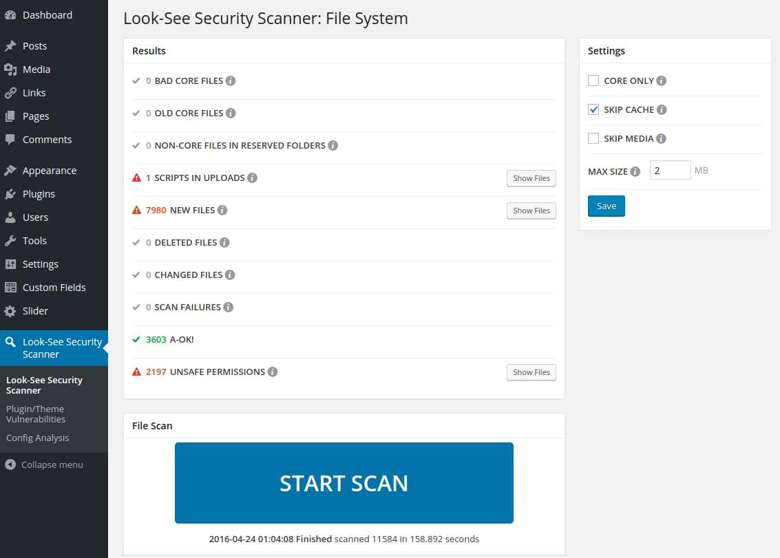 Look-See Security Scanner Plugin WordPress, Download, Install