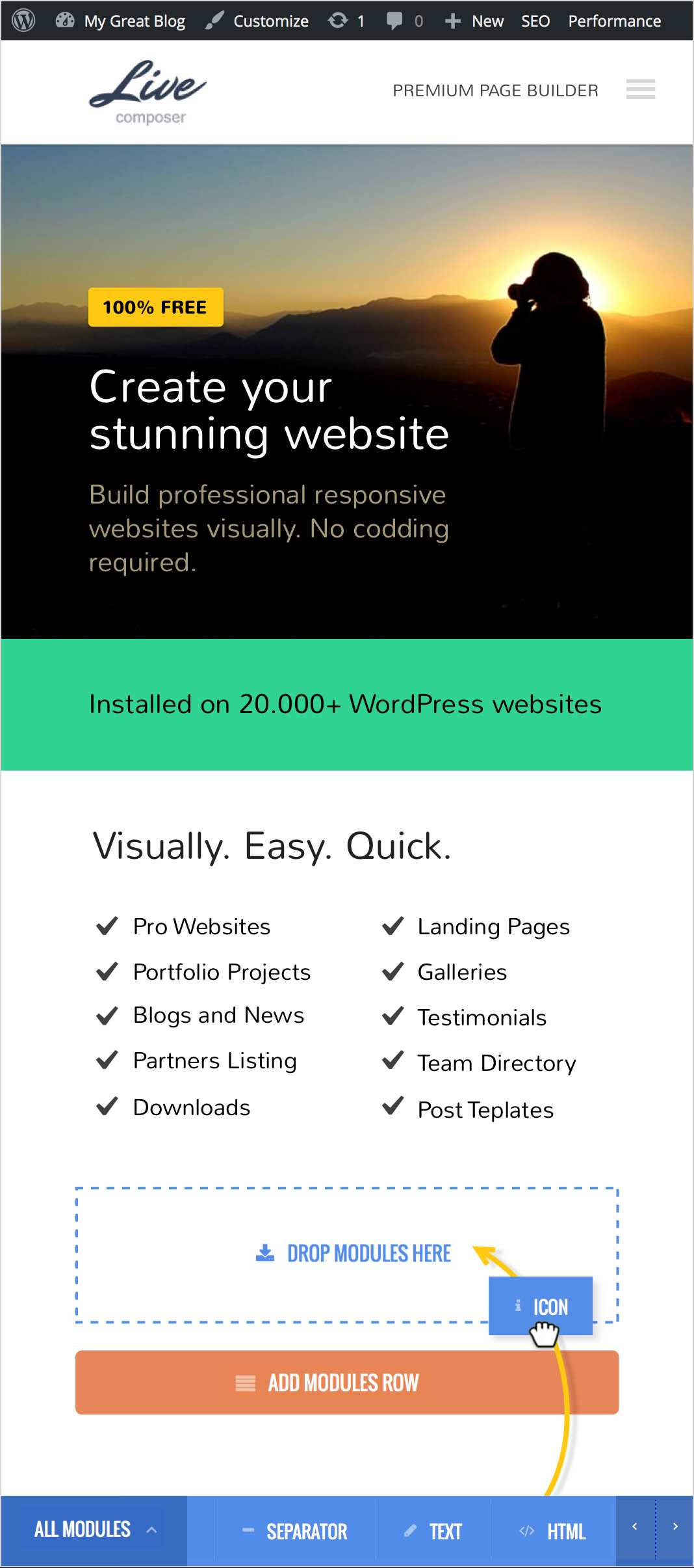 Page Builder: Live Composer - drag and drop website builder (visual front end site editor) Plugin WordPress
