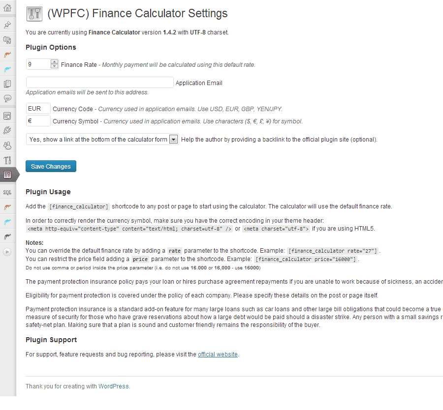 Finance Calculator Plugin WordPress