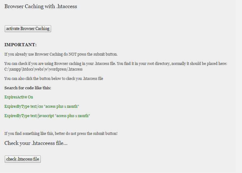 Browser Caching with .htaccess Plugin WordPress, Download, Install