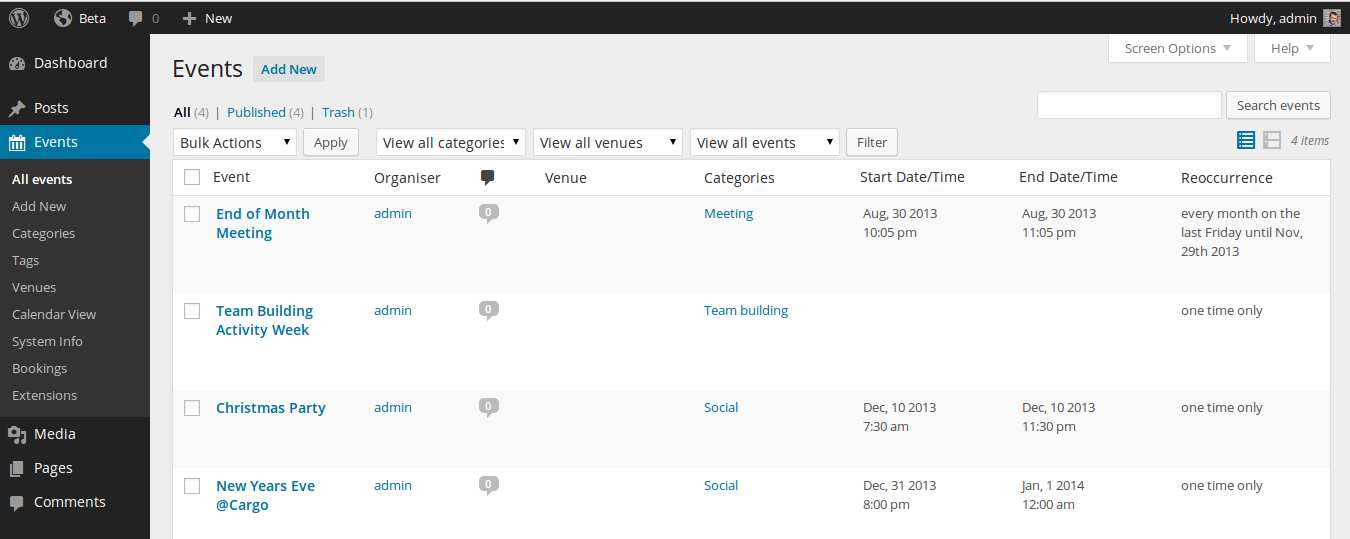 Event Organiser Plugin WordPress
