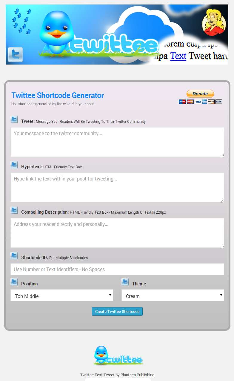 Twittee Text Tweet Plugin WordPress