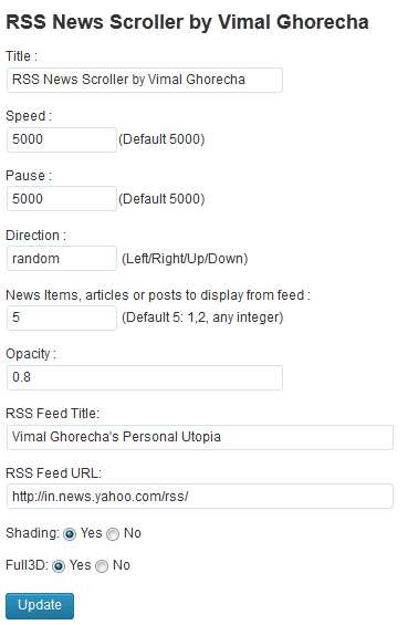 RSS News Scroller Plugin WordPress