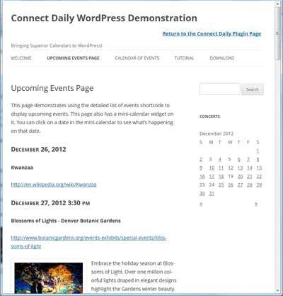 Connect Daily Events Calendar Plugin WordPress, Download, Install