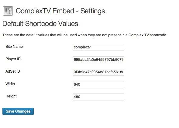 Complex TV Embed Plugin WordPress