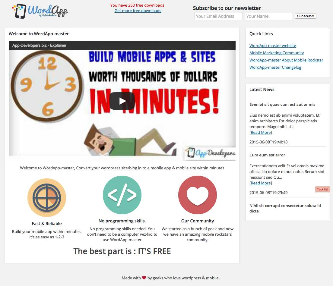 Mobile App Plugin – Make a mobile app – Native iPhone & Android Mobile App WordApp is FREE Plugin WordPress, Download, Install
