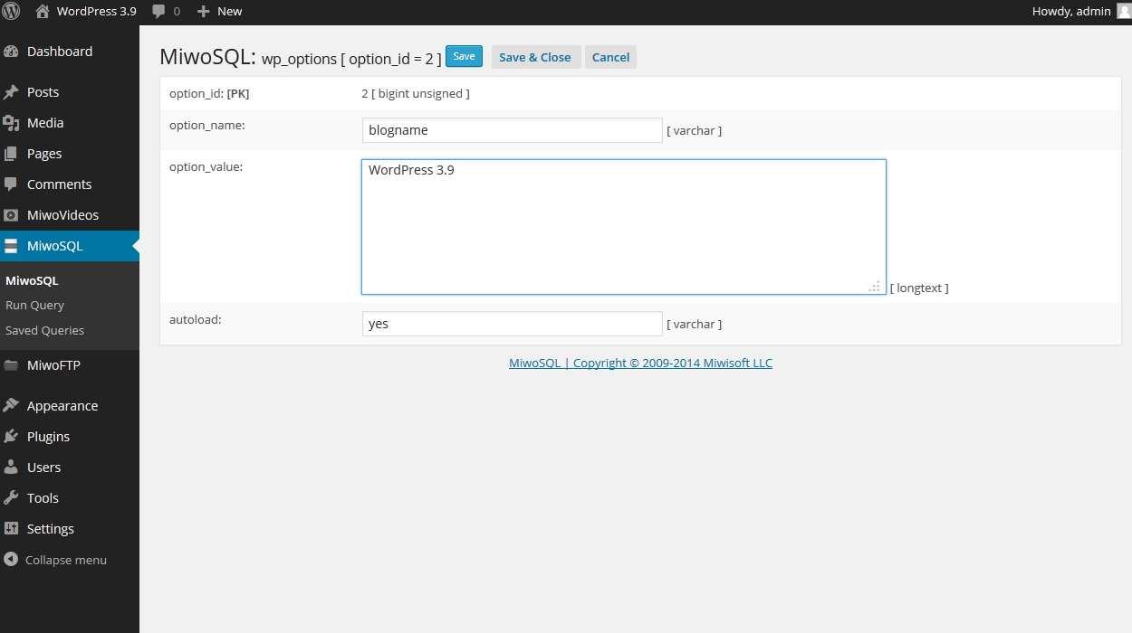 MiwoSQL - Database & SQL Manager Plugin WordPress