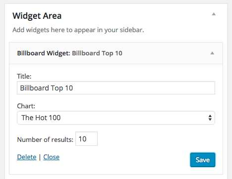 Top Music Charts Widget Plugin WordPress