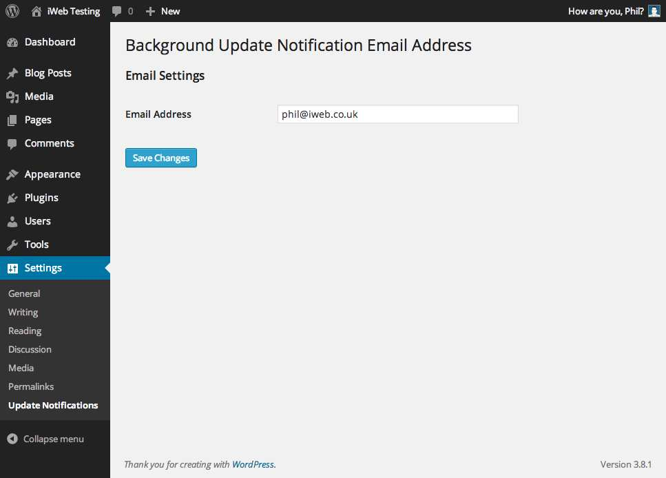 Background Update Notification Email Address Plugin WordPress, Download, Install