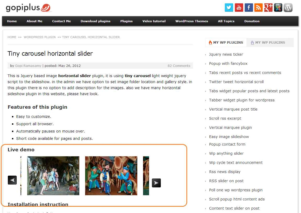 Tiny Carousel Horizontal Slider Plugin WordPress, Download, Install
