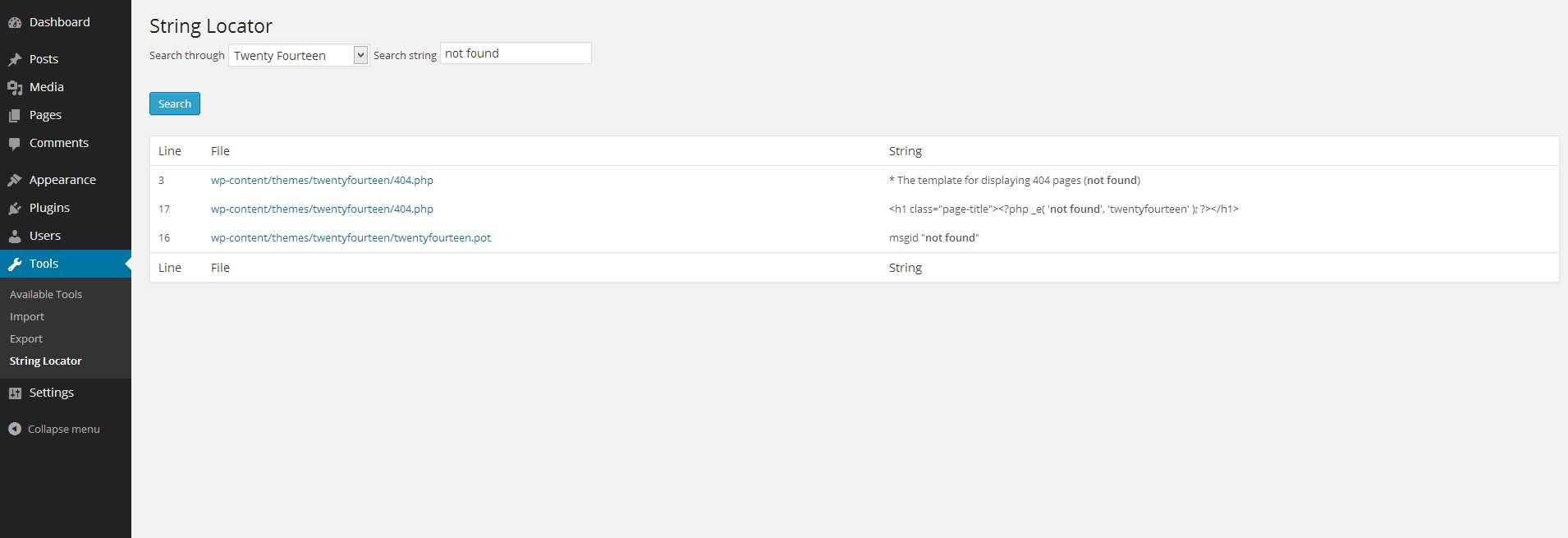 String locator Plugin WordPress