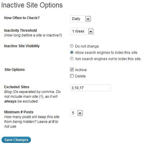 Hide Inactive Sites Plugin WordPress