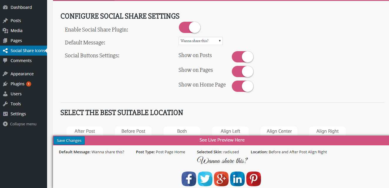 Social Media Social Share Icon Plugin WordPress, Download, Install