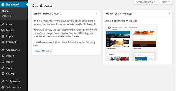 Dashboard Sticky Notes Plugin WordPress, Download, Install