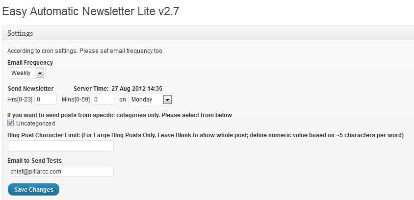 Easy Automatic Newsletter Lite Plugin WordPress