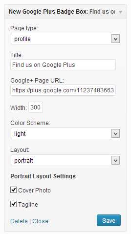 New Google Plus Badge Widget Plugin WordPress