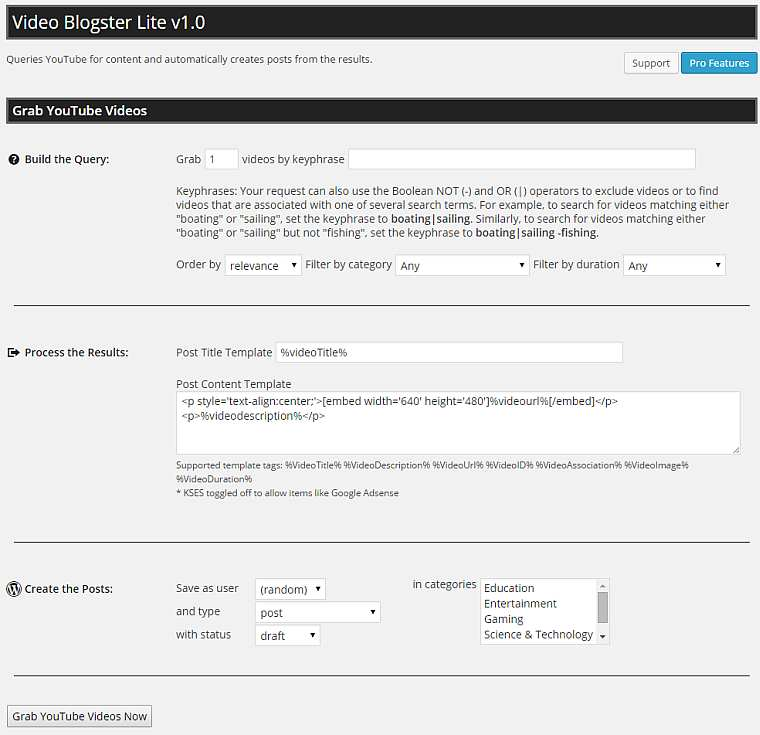 Video Blogster Lite Plugin WordPress