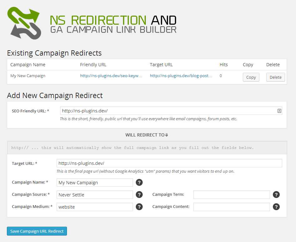 NS Redirection and GA Campaign Link Builder Plugin WordPress, Download, Install