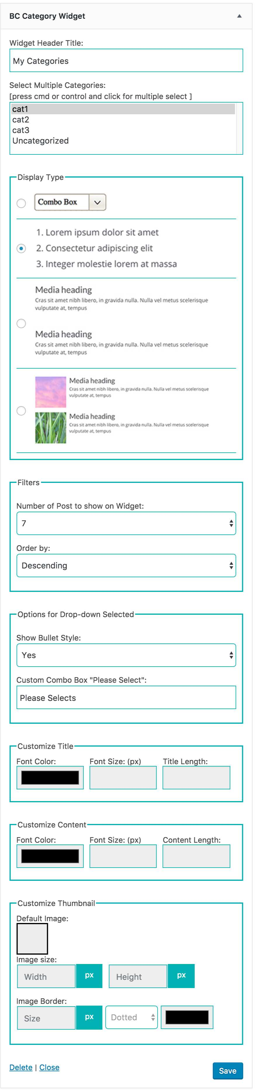 Category Widget Plugin WordPress
