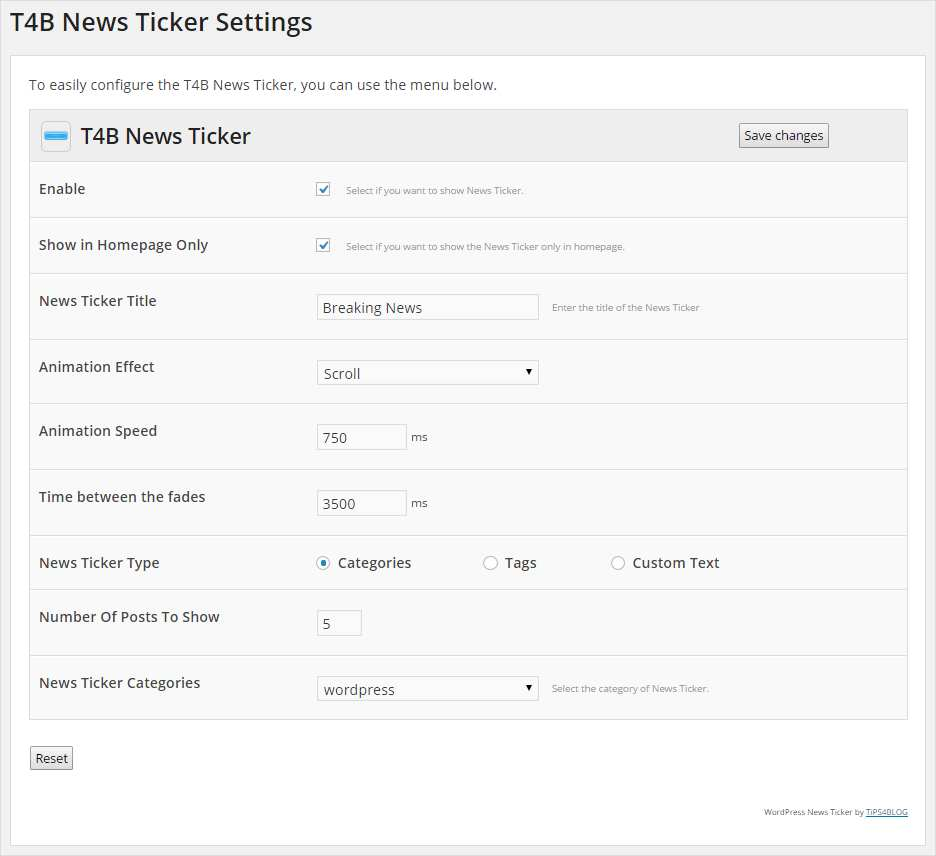 T4B News Ticker Plugin WordPress, Download, Install