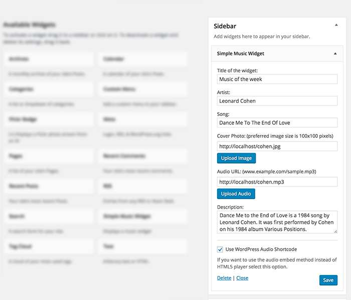 Simple Music Widget Plugin WordPress, Download, Install
