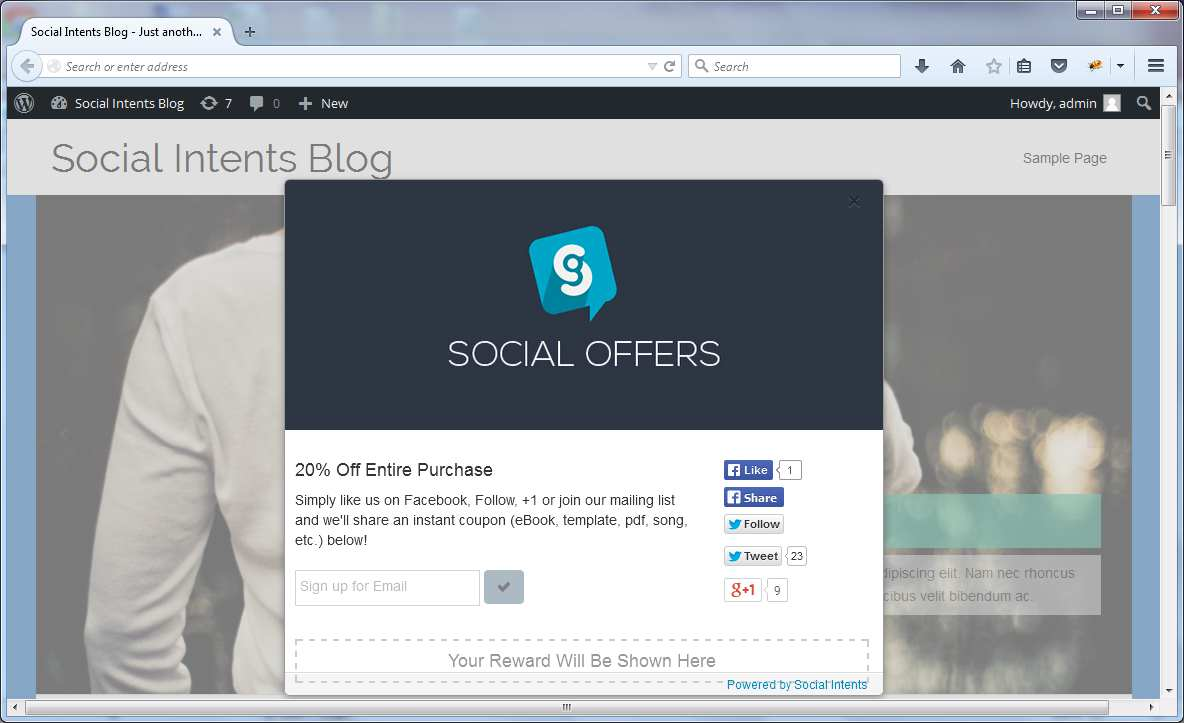 Social Offers and Social Sharing Plugin WordPress