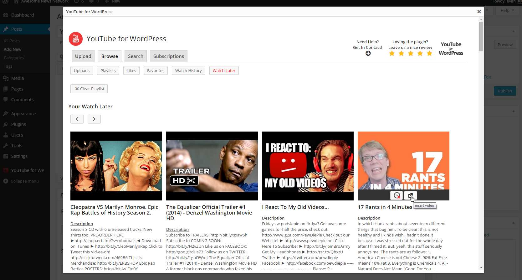 YouTube for WordPress Plugin WordPress