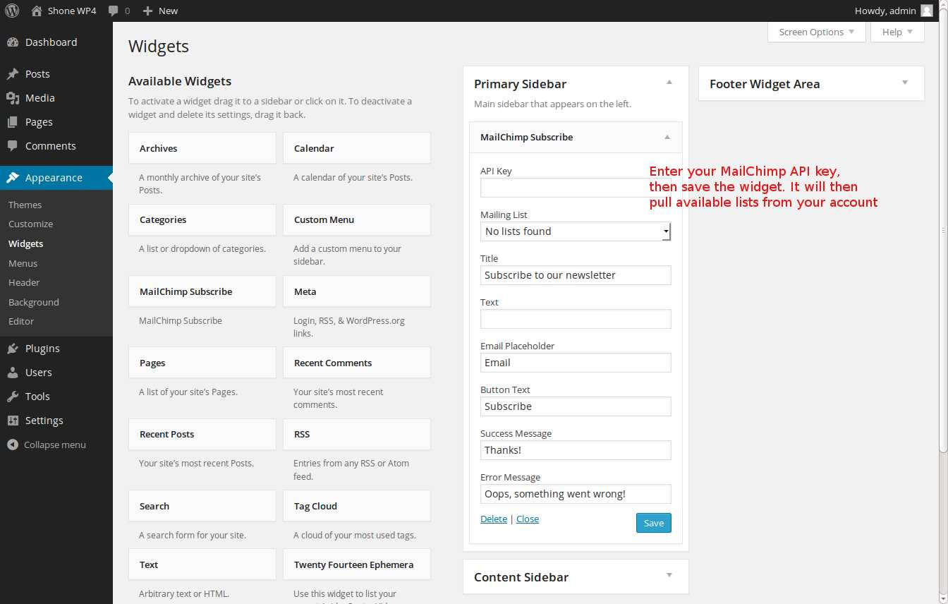 MailChimp Subscribe Widget Plugin WordPress, Download, Install