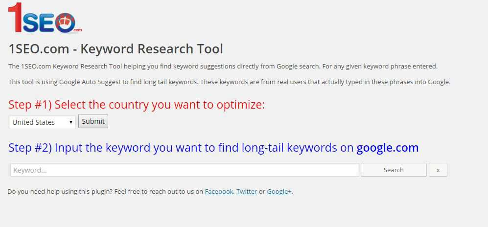 1SEO.com Keyword Research Tool Plugin WordPress, Download, Install