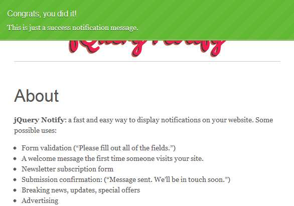 jQuery Notify Plugin WordPress, Download, Install