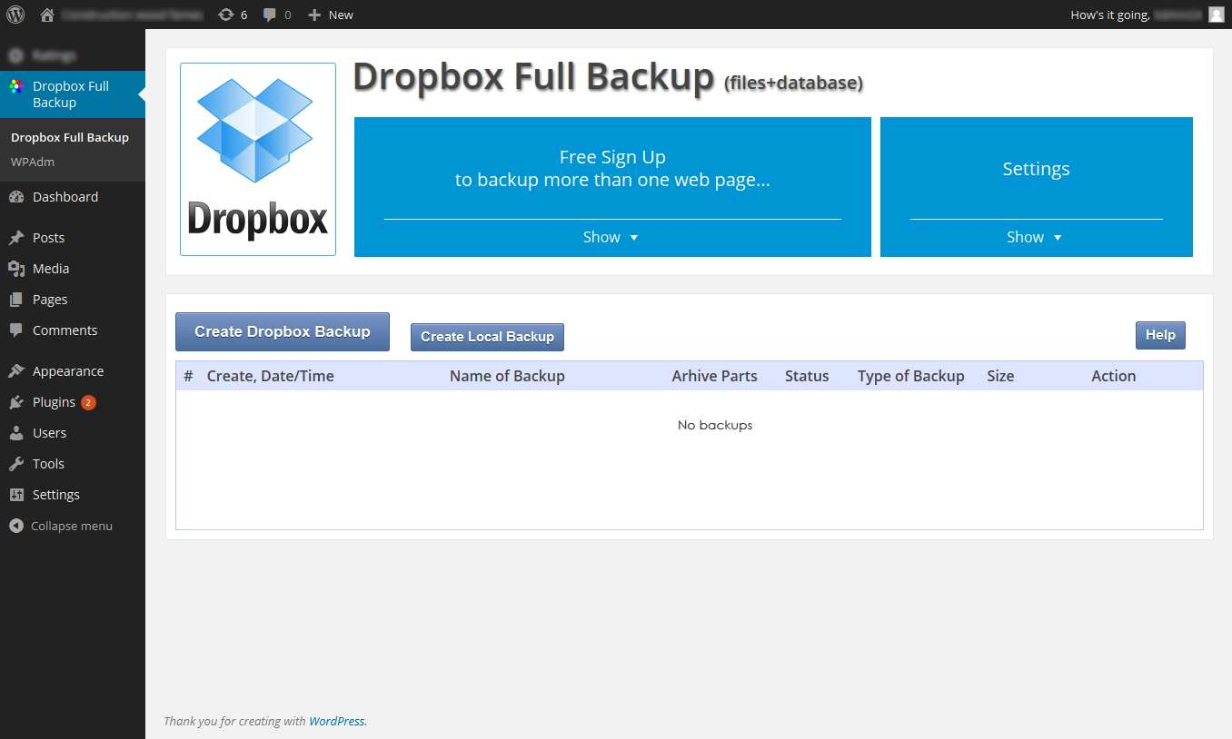 Backup & Restore Dropbox Plugin WordPress