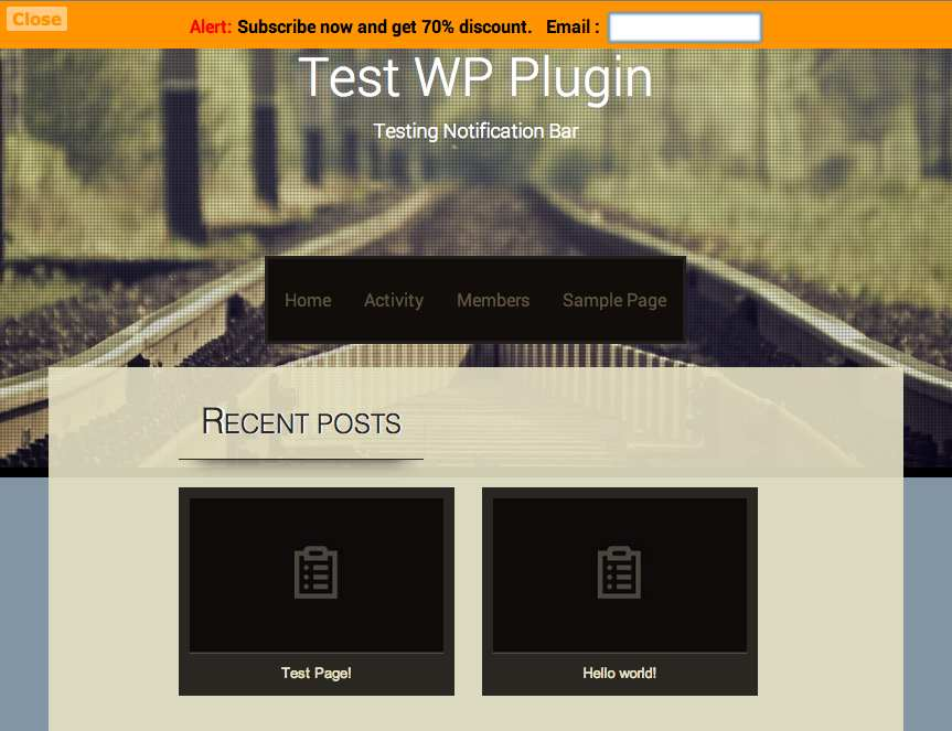 Top Bar Plugin WordPress