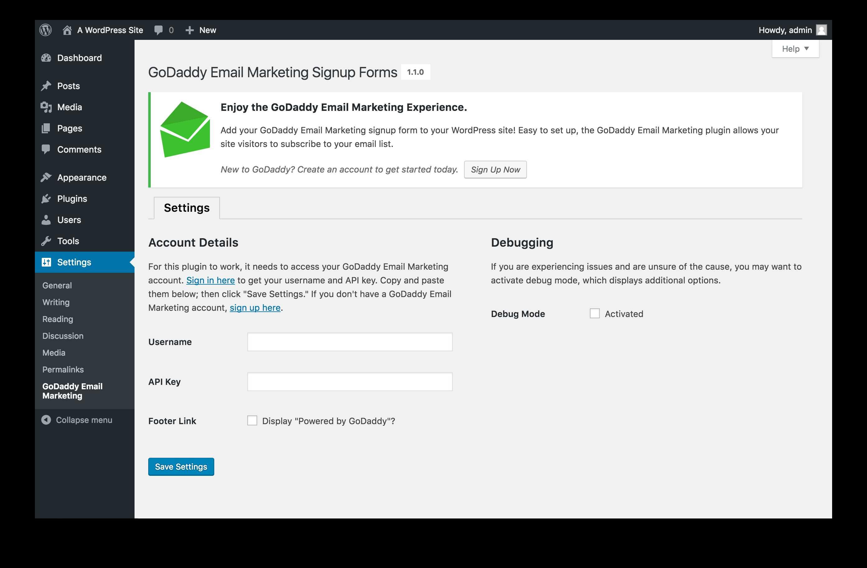 GoDaddy Email Marketing Plugin WordPress