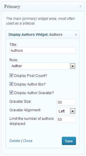 Display Authors Widget Plugin WordPress, Download, Install