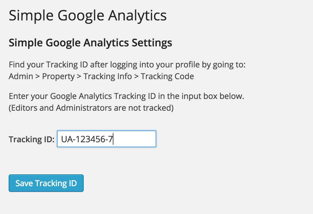 Simple Google Analytics Tracking Plugin WordPress