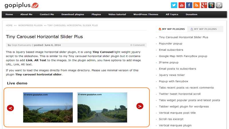 Tiny carousel horizontal slider plus Plugin WordPress, Download, Install