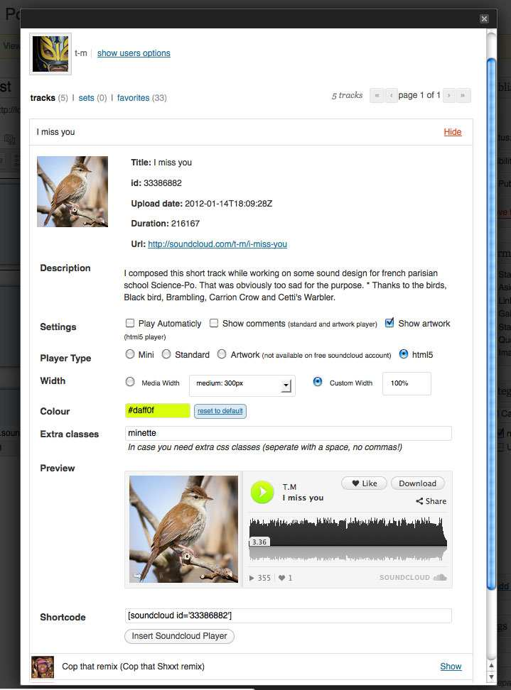 SoundCloud Is Gold Plugin WordPress