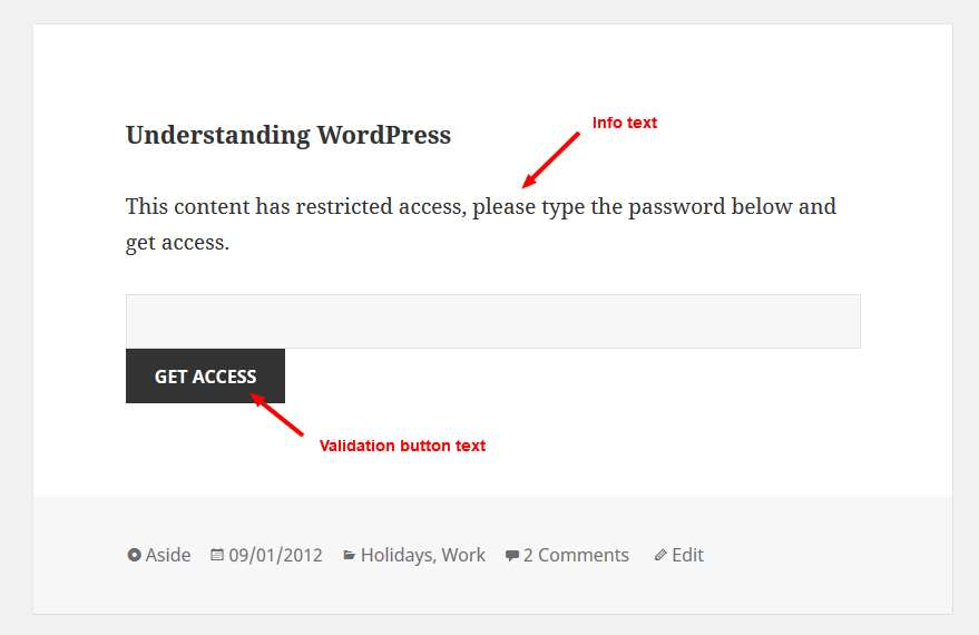 Access Category Password Plugin WordPress