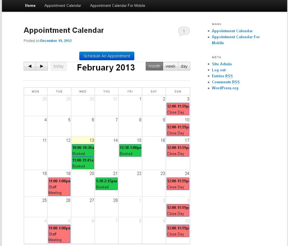 Appointment Calendar Plugin WordPress