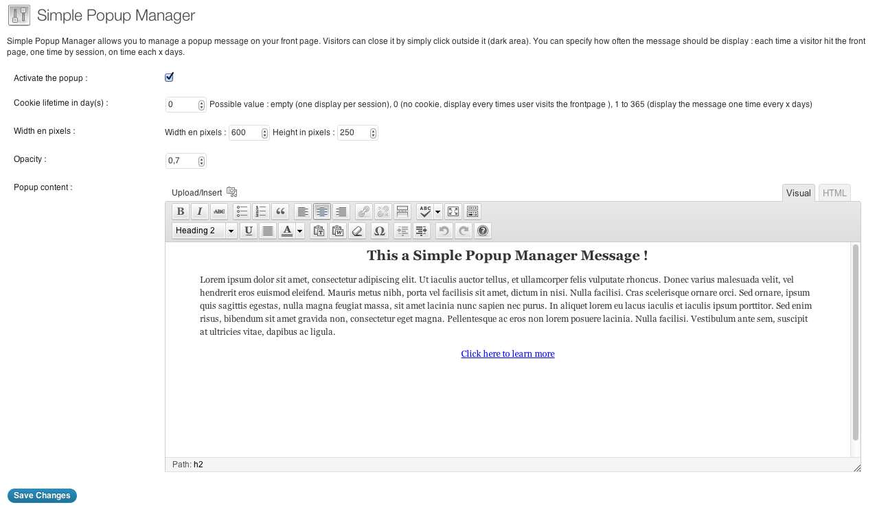Simple Popup Manager Plugin WordPress