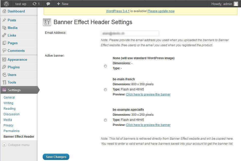 Banner Effect Header Plugin WordPress