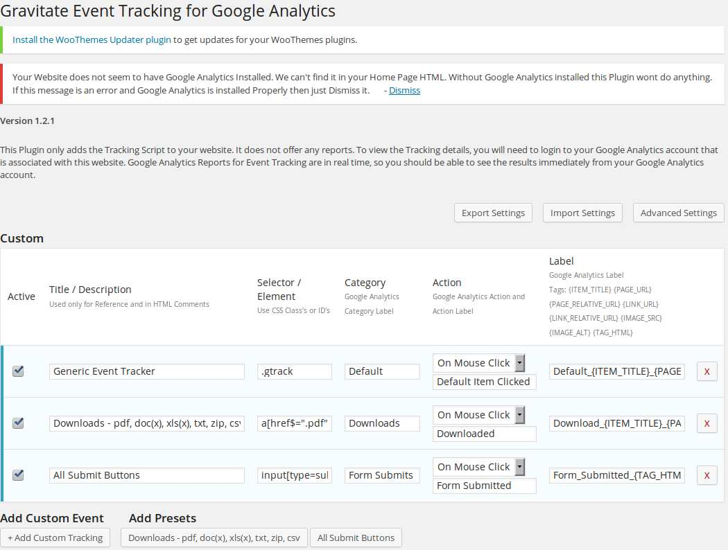 Gravitate Event Tracking Plugin WordPress, Download, Install