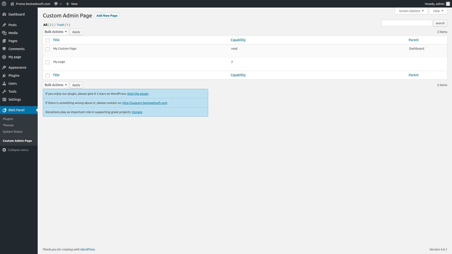 Custom Admin Page by BestWebSoft Plugin WordPress