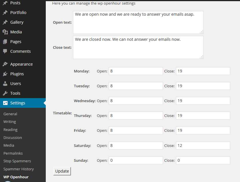 WP Open Hour Widget Plugin WordPress