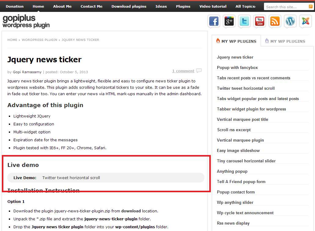 Jquery news ticker Plugin WordPress, Download, Install